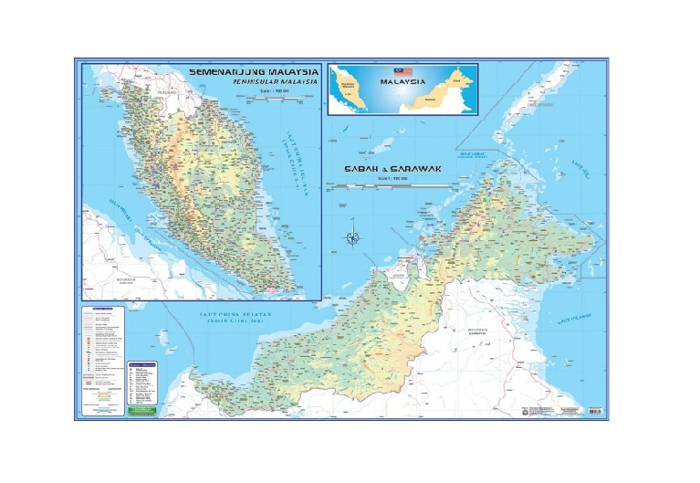 WRITEBEST MAP OF MALAYSIA - EAST & WEST