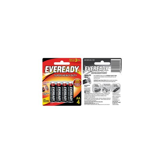 Eveready Super Heavy Duty Batteries AA x 4
